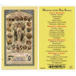 Mysteries of the Holy Rsary - Holy Card.  Plastic Coated. Picture is on the front, text is on the back of the card.