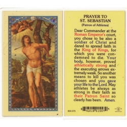 St. Sebastian - Holy Card.  Plastic Coated. Picture is on the front, text is on the back of the card.