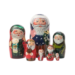 Our International Santas Doll celebrates Christmas around the world! The outer, American Santa is all decked out in Red, White and Blue. Next comes a German Santa, followed by his representatives from Ireland, Scotland, Italy, Poland and Russia. 7 diffe