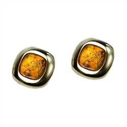 Beautiful pair of stud amber earrings in a sterling silver frame.