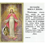 Sacred Heart of Jesus - Polish - Do Najsw. Serca P. Jezusa (SHJ) -  Holy Card Plastic Coated. Picture is on the front, Polish text is on the back of the card. Note: the plastic is slightly 'wrinkled' around the medallion which is not meant to be removed.
