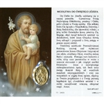 Saint Joseph - Polish - Sw.  Jozefa - Holy Card Plastic Coated. Picture is on the front, Polish text is on the back of the card. Note: the plastic is slightly 'wrinkled' around the medallion and not meant to be removed.