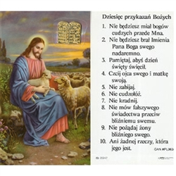 10 Commandments - Polish - Dziesiec przykazan Bozych -  Holy Card Plastic Coated. Picture is on the front, Polish text is on the back of the card. Note: the plastic is slightly 'wrinkled' around the medallion which is not meant to be removed.