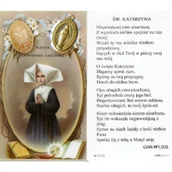 Saint Catherine - Polish - Sw.  Katarzyna - Holy Card Plastic Coated. Picture is on the front, Polish text is on the back of the card. Note: the plastic is slightly 'wrinkled' around the medallion which is not meant to be removed.