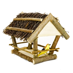 "Hand made in Poland and ready to hang with its own hanger. Made from wood and wicker.  Size is approx 10"" x 10"" x 11"".  Our little bird inside is sold separately."