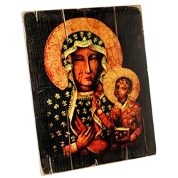 "This icon is on an antiqued style wood board. Ready to hang with its own hanger on the back.  Size approx 14.5"" x 11.2"".  Made In the USA by graphic artist Adam Ksiazek."