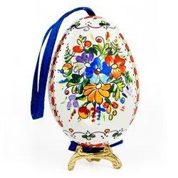 This beautifully designed goose is completely hand painted. The painting is done in a traditional style from Opole. Ready to hang. Eggs are blown and can last for generations. 