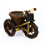 "Another clever example of Polish wicker folk art. Beautifully crafted and sturdy of Polish wicker and wood. The seat in this cycle is an open basket the can be filled and used as for display. Size is approx 9 "" x 8"" x 11.5"". Please note that the wheels ar"