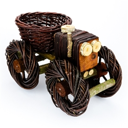 "Another clever example of Polish wicker folk art. Beautifully crafted and sturdy of Polish wicker and wood. The seat in this tractor is an open basket the can be filled and used as for display. Size is approx 8 "" x 8"" x 12"". Please note that the wheels ar"