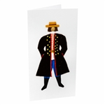 This card is dressed with material to give a very special doll-like 3D effect.  This is a man's folk dress from the Rzeszow region.