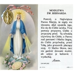 Saint Bernadette - Polish - Modlitwa Sw. Bernarda  - Holy Card Plastic Coated with Medallion. Picture is on the front, Polish text is on the back of the card. Note: the plastic is slightly 'wrinkled' around the medallion which is not meant to be removed.