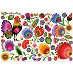 The traditional floral paper cut and rooster design from Lowicz with a white background.  Standard postcard size.
