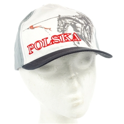 The cap features the famous Polish Winged Cavalryman known as the Husaria. Features an adjustable velcro tab.  Designed to fit folks with an average hat size.  This cap is made in Poland and quite frankly their hats are just not as big as ours.  We tried