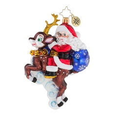 Such an endearing sight… Saint Nick on Blitzen's back taking off for a quick trip. Perhaps it's just a jaunt across Toy Town to deliver those gifts.