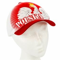 The cap features the Polish Eagle. Features an adjustable velcro tab. Designed to fit folks with an average hat size. This cap is made in Poland and quite frankly their hats are just not as big as ours. We tried this on and it fits a maximum head size of