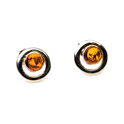 Gorgeous Baltic Amber round stud earrings surrounded with a ring of Sterling Silver.