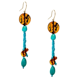 Bozena Przytocka is a designer of artistic amber jewelry based in Gdansk, Poland. Here is a beautiful example of her ability to blend amber and turquoise to create a stunning set of earrings.