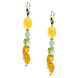 Bozena Przytocka is a designer of artistic amber jewelry based in Gdansk, Poland. Here is a beautiful example of her ability to blend amber and aquamarine to create a stunning set of earrings.