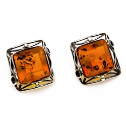 "Gorgeous Baltic Amber square stud earrings surrounded with a ring of antique style sterling silver.  Size approx 1"" square."