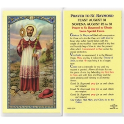St. Raymond - Holy Card.  Holy Card Plastic Coated. Picture is on the front, text is on the back of the card.