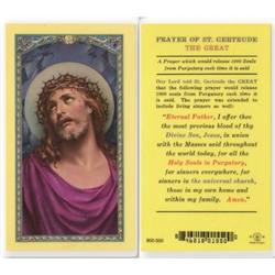 St. Gertrude The Great - Holy Card.  Holy Card Plastic Coated. Picture is on the front, text is on the back of the card.