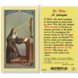 St. Rita - Holy Card.  Holy Card Plastic Coated. Picture is on the front, text is on the back of the card.