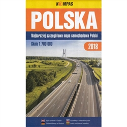 "Large color folding automobile road map of Poland. Printed in 2018. Size approx 42"" x 35"""