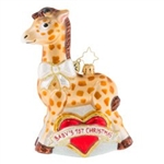 "Our little giraffe all covered in spots will make for a beautiful addition to your ""Baby's 1st Christmas."" This cutie of a keepsake embraces both genders with its red heart and white sash."