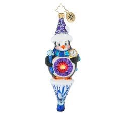 This pleasant little penguin is delightfully pleased standing atop his beautiful ice cycle. Holding a snowflake scepter, he watches the clock most diligently. Is it Christmas yet?