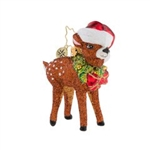 Just peeking out from beneath his Kris Kringle cap, this spotted fawn wearing his holly wreath is keeping a close eye on the calendar. Is it Christmas Eve yet?