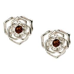 "Gorgeous Baltic Amber round stud earrings surrounded with a rose shaped Sterling Silver setting.  Approx .5"" diameter."