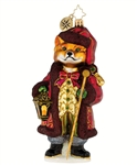 This dapperly dressed fox in his embroidered coat and green striped trousers tells a tale of stylish European antiquity--his lantern and cane at the ready.