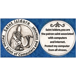 Saint Isidore (Computer, Internet) Pocket Token (Coin) Great for your pocket or coin purse.