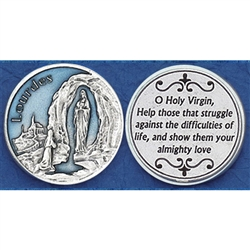 Our Lady of Lourdes Enameled Pocket Token (Coin). Great for your pocket or coin purse.