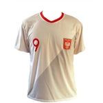 World Cup Soccer is back!  Poland's best player is Robert Lewandowski wearing the #9.  100% polyester.  FYI....Polish sizes run small so we suggest ordering one size larger than your US size.