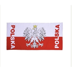 Large light weight terry towel.  Polish soccer fans wear these to show off their team spirit.  You can use yours to show off your Polish heritage.  Soft to the touch, very absorbent.