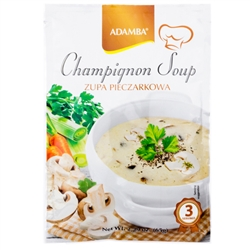 Adamba Polish Style Mushroom Soup is easy to make. Instructions in Polish and English.  Makes 3 servings.