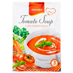 Adamba Polish Style Tomato Soup is easy to make. Instructions in Polish and English.  Serves 3.