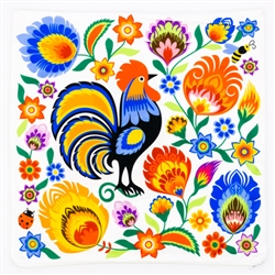 Double-sided pillow cover with a colorful folk motif of a rooster in flowers from Łowicz, made of soft and pleasant to touch polyester. Two different patterns on both sides, which gives you the ability to quickly change the decor.