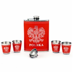 Great 6 piece set includes 8oz flask, funnel and 4 shot cups.