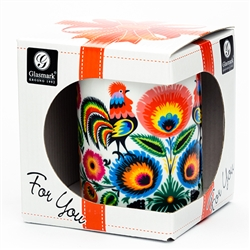 This colorful ceramic mug features beautiful Polish paper cut art. Hand wash only. Made In Poland. 300ml/10oz capacity.