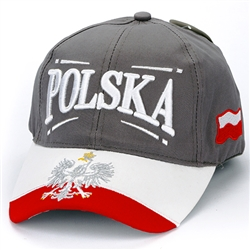 Stylish red,white and grey cap with silver and white thread embroidery. The cap features a silver Polish Eagle with gold crown and talons. Features an adjustable cloth and metal tab in the back. Designed to fit most people.