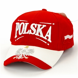 Stylish red cap with silver and white thread embroidery. The cap features a silver Polish Eagle with gold crown and talons on the brim. Features an adjustable cloth and metal tab in the back. Designed to fit most people.