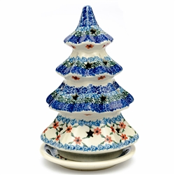 Collectors of Polish stoneware from Poland's premier company, Ceramika Artystyczna, will enjoy this unique item. Each of the stars on the tree is cut out to allow heat out.  Set your tea candle inside.