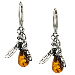 Unique set of sterling silver and amber honey bee earrings.