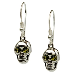 Unique set of sterling silver skull and green amber earrings.