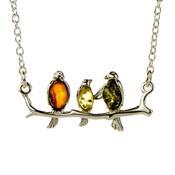 "Beautiful sterling silver pendant and adjustable length chain (16"" - 18"") decorated with multi-color amber cabochons."