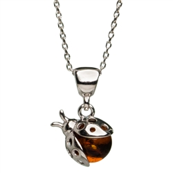 "Classic sterling silver lady bug pendant and adjustable length sterling silver chain (18"" long max.)"