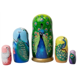Looking for the perfect peacock gift?  Consider this feast for the eyes:  a splendid strutting peacock unfolds his feathers on a nesting doll.  Open up the largest India blue peacock doll to find various other peacocks, including a white peacock doll.  Ad