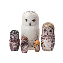 The white snowy owl rules the night sky of the north. The realistic look of our northern owls nesting doll will amaze you! The largest doll is a fantastic rendition of the snowy owl.  Open him up to reveal a short-eared owl, hawk owl, cute little saw-whet